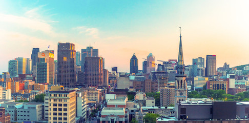 Montreal, Quebec, Canada: city skyline from a downtown hotel. Beautiful cityscape of a Canadian city