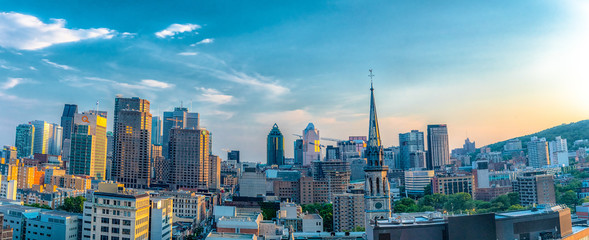Montreal, Quebec, Canada: city skyline from a downtown hotel. Beautiful cityscape of a Canadian city Wall mural