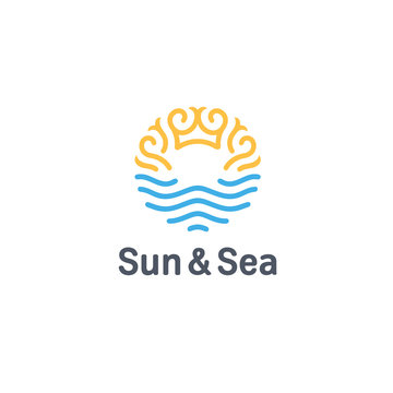 Vector logo design template. Sun and Sea sign.