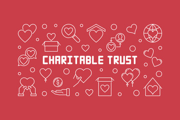 Charitable trust vector concept horizontal outline illustration on red background