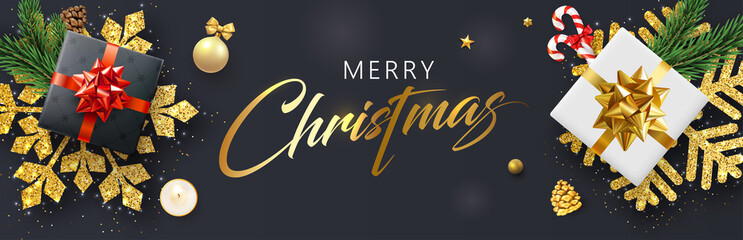 Merry Christmas banner with gifts, snowflakes and holiday decorations.