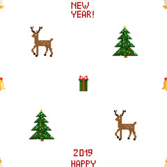 Colorful Pixel Pattern with Christmas Elements. Atcade games style
