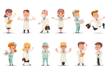 Medic different positions emotions actions doctor characters icons set retro cartoon design vector illustration