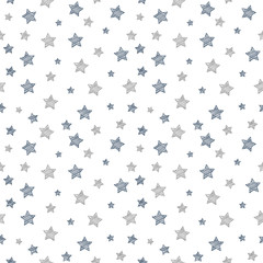 Background with hand drawn stars. Vector.