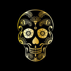 Vector golden sugar skull with floral pattern on black background. Luxury illustration of sugar skull for Mexican Day of the Dead Celebration Festival