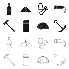 Isolated object of mountaineering and peak sign. Collection of mountaineering and camp stock symbol for web.