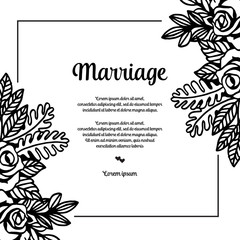Flower wedding invitation card with marriage text vector art