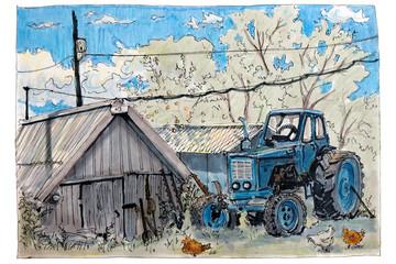 Рисунок сделанный скетч фломастером.Синий трактор стоит рядом с сараем,вокруг ходят курицы.Летний пейзаж.