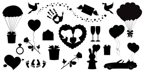 Vector love icons set of 20 editable filled valentines silhouette signs on white