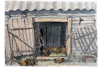 Рисунок выполнен скетч фломастером.Сельский быт.Разведение кур.