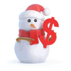 3d Snowman with US Dollar symbol
