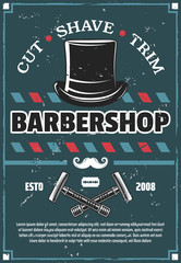 Barbershop barber razor, mustache and retro hat
