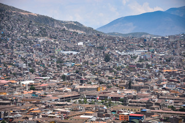 Views over the city of Ayacucho from the Mirador de Acuchimay. Ayacucho, Peru