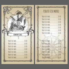 Adventure stories. Pirate background. Vintage border frame. Old caravel, vintage sailboat. Menu