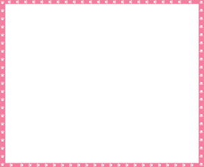 Vector pink and white frame made of animal paw prints copy space