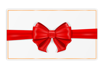Greeting card wrapped with red ribbon. With silk bow