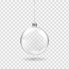 Foto op Plexiglas Bol Glass transparent Christmas ball hanging on the ribbon. Realistic Xmas glass bauble on transparent background. Holiday decoration template. Vector illustration