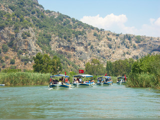 Boat trip to turkish Lycian Tombs on the Dalyan River