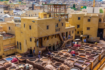 FEZ, MOROCCO, 15 AUGUST 2018: Men working in the traditional and famous tanneries of the medina