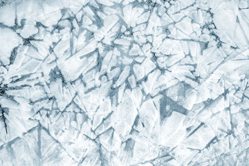 Solid background of pieces of ice and snow crystals