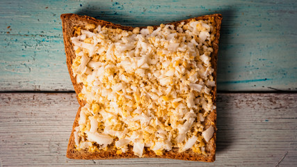 TOAST with egg. Healthy breakfast or snack. copy space, top view