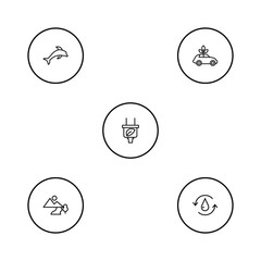 Set of 5 ecology icons line style set. Collection of leaf, air, treatment and other elements.
