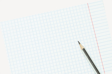 exercise book for taking notes with a pencil