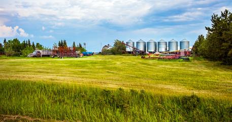 Grande Prairie Alberta Canada on June 21, 2018. Farm in Grande Prairie