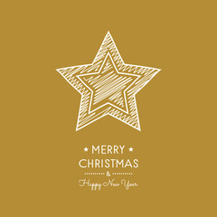 Christmas greeting card with hand drawn star. Vector.