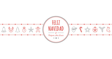 Feliz Navidad - translated from spanish as Merry Christmas. Vector