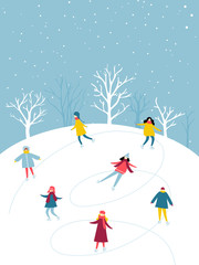 Winter activity, people group is skating on ice rink outdoor. Flat illustration of holidays fun