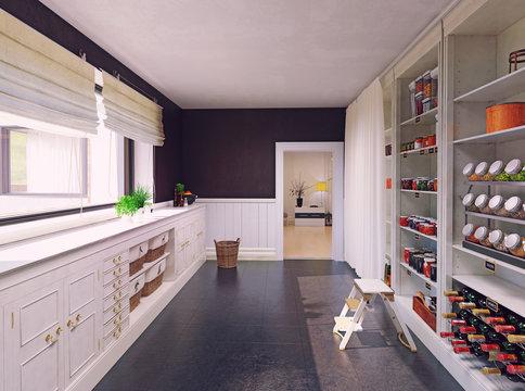 Modern pantry interior design.
