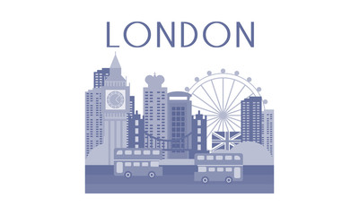 Monochrome vector illustration of London cityscape. Architecture, buses and famous landmarks