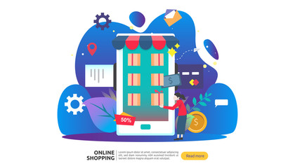 Online shopping banner. Business concept for Sale e-Commerce with smartphone and tiny people character. template for web landing page, presentation, social media and print media. Vector illustration.