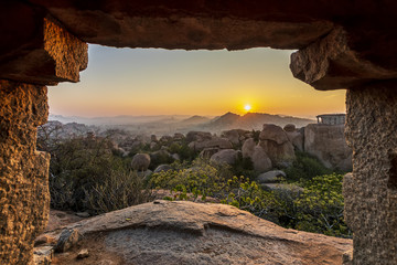 Photo sur Toile Marron chocolat Sunrise in Humpi, state Karnataka, India.