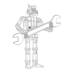 Highly detailed Android robot with a wrench. Pseudo 3d vector outline illustration.