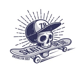Skull in baseball cap keeps skateboard in his mouth - urban retro skateboarding emblem tattoo. Worn grunge texture on a separate layer
