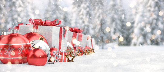 Red christmas baubles and gifts background 3D rendering