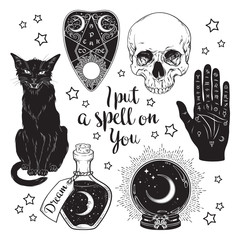 Door stickers Halloween Magic set - planchette, skull, palmistry hand, crystal ball, bottle and black cat hand drawn art isolated. Ink style boho chic sticker, patch, flash tattoo or print design vector illustration.