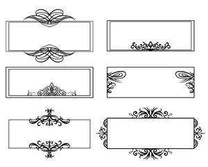 Set of calligraphic black and white frames. The object is separate from the background. Vector element for banners, cards, invitations and your design.