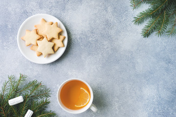 Cup of tea and cookies, pine branches, cinnamon sticks, anise stars. Christmas, winter concept. Flat lay top view