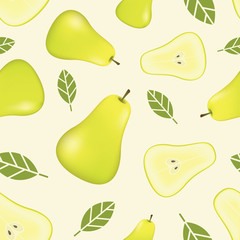 Seamless pattern with pears. Realistic fruit background. Fruit vector seamless pattern, Realistic vector illustration plant. Pears fruit seamless pattern