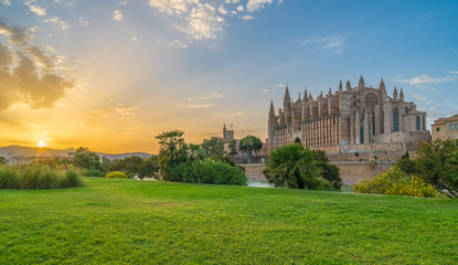 Wall Mural - Landscape with Cathedral La Seu at sunset time in Palma de Mallorca islands, Spain