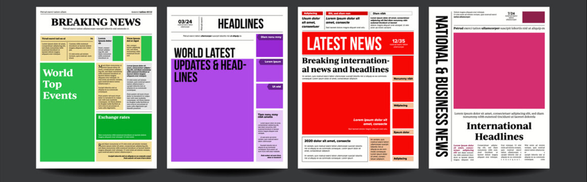 Newspaper Cover Set Vector. With Text Article Column Design. Technology And Business Article. Press Layout. Blank Daily Newspaper. Headline News. Reportage Information. Illustration