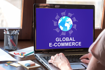 Global e-commerce concept on a laptop screen