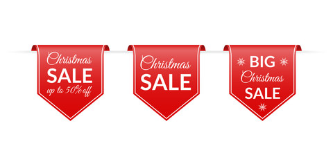 Christmas sale banner set. Red Hanging ribbon with Xmas discount. Up to 50% price off. Vector illustration.