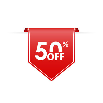 50 percent off. Sale tag ribbon or pennant. Price off and discount badge. Vector illustration.