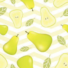 Seamless pattern with pears and leaves. Realistic fruit background. Realistic vector illustration plant. Pears fruit seamless pattern