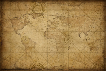 Foto op Plexiglas Wereldkaart retro styled world map