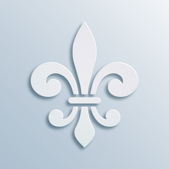 Fleur-de-lis background. Symbol of French heraldry. Paper style illustration. White vector geometric bas-relief, elegant decoration, stone ornament. Element for greeting cards, invitation template